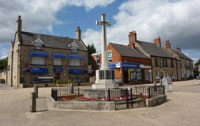 Memorial and shops in Bolsover