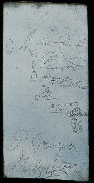 Glazier's inscription, Oake church