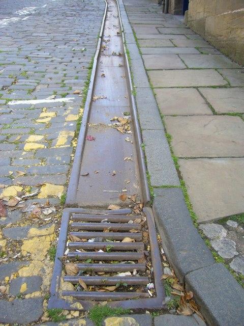 Iron gutter on Calton Hill