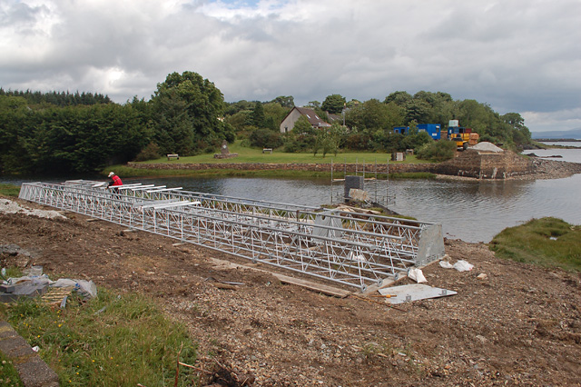 Footbridge construction at the mouth of the Broadford River