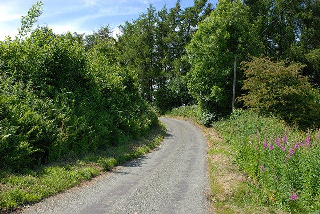 Minor road climbing away from the Nant Cwmcidyn