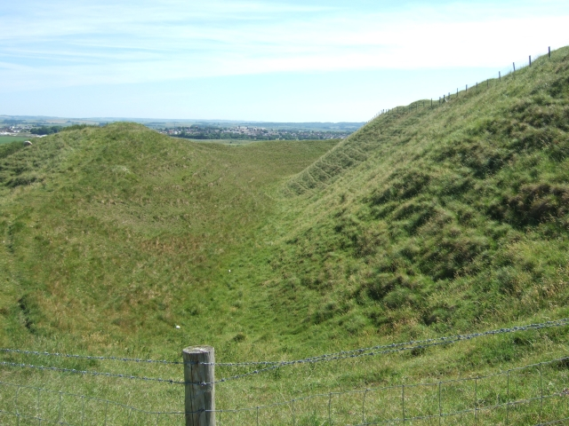 The innermost rampart and ditch of Maiden Castle