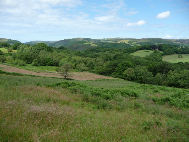 View over the Devil's Bridge area from the Mynach valley
