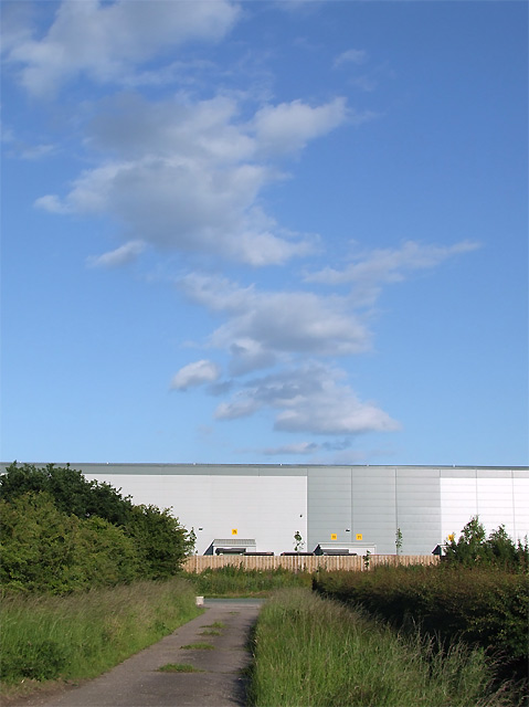 Blue skies over Tesco's at Fradley, Staffordshire