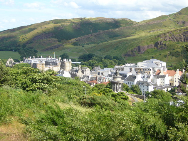 Holyrood Palace and the Scottish Parliament from the Calton Hill