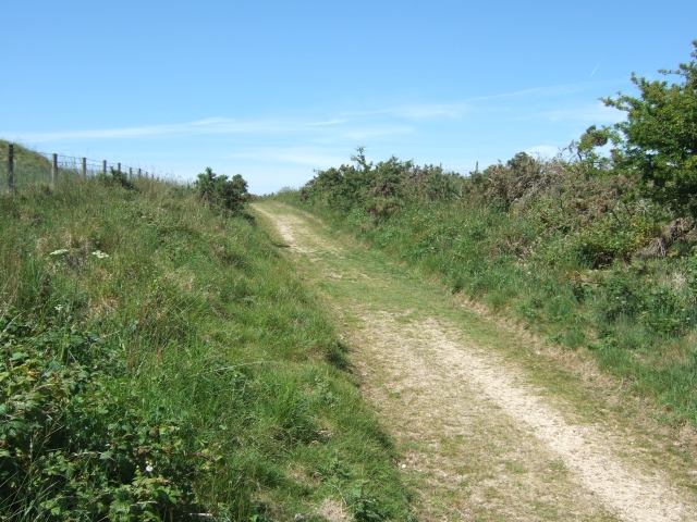 Bridleway climbing the shoulder between Maiden Castle and Hog Hill