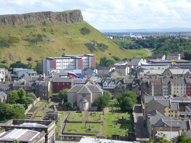 Salisbury Crags and the Canongate Kirk from the Calton Hill