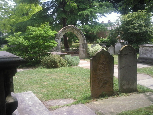 Tombs and archway in St Mary the Virgin Churchyard, Mortlake