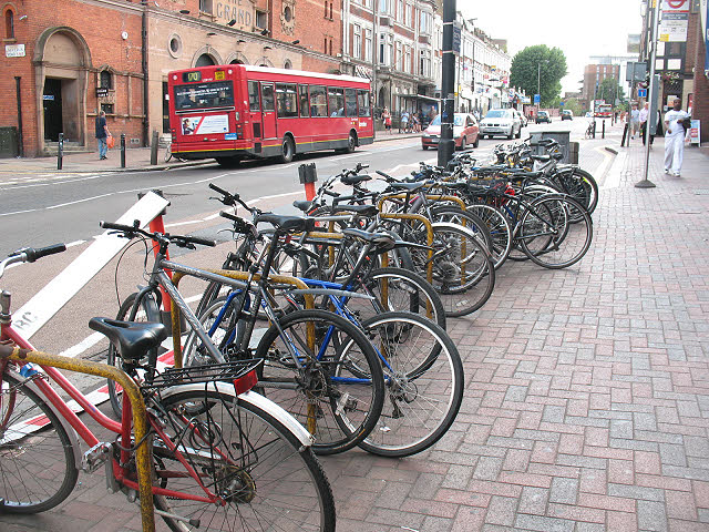 Cycle stands outside Clapham Junction station