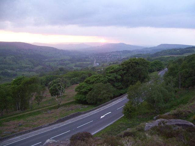 The A6187 below Millstone Edge