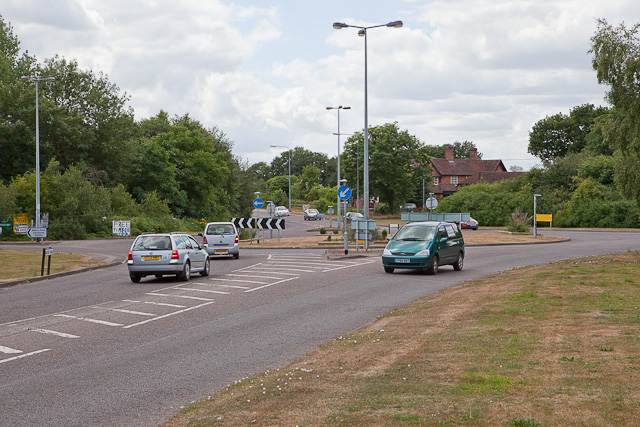 Roundabout on A27 at Luzborough