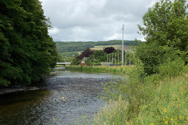 Looking upstream at Kingsmeadows, Peebles
