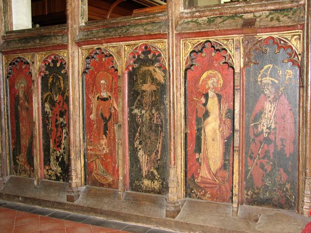 St Nicholas' church in Dersingham - C15 rood screen dado