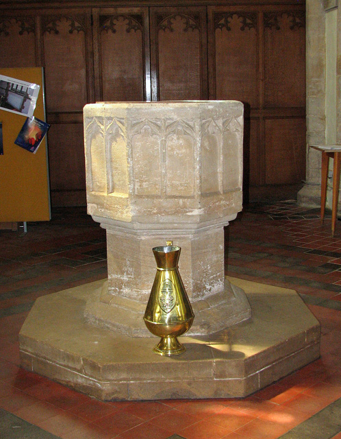 St Nicholas' church in Dersingham - C14 baptismal font