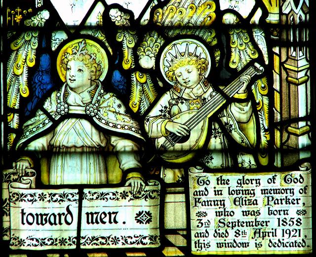 St Nicholas' church in Dersingham - C20 glass (detail)