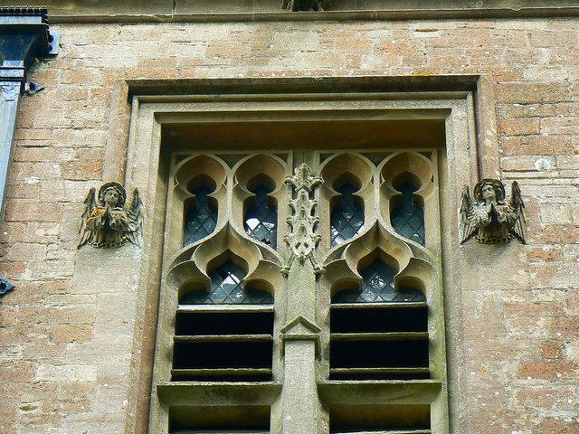Angels on the tower, Hartham Chapel, Corsham