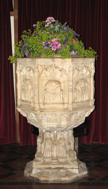 St Mary's church in Docking - C15 baptismal font