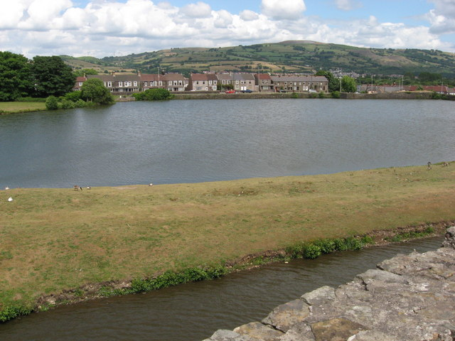 Lake to north of Caerphilly Castle