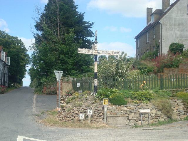 Road sign at Hollingbourne