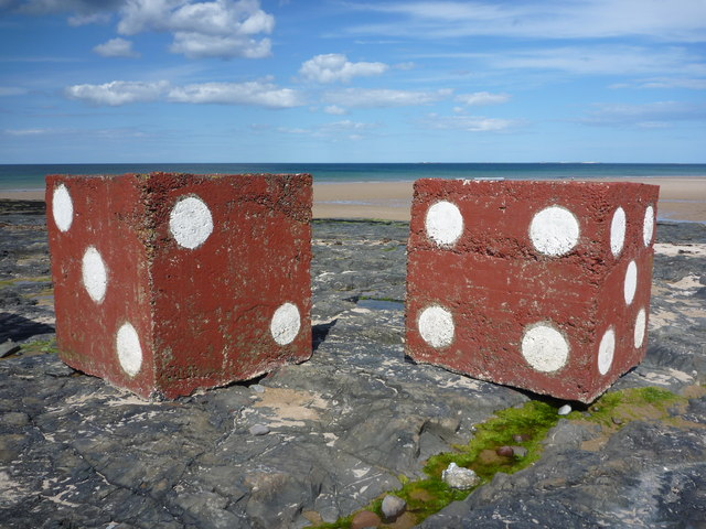 Tumbling Dice : Decorated Anti-tank Blocks near Harkess Rocks, Bamburgh, Northumberland