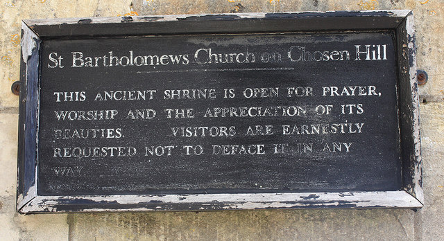Sign by the entrance to St Bartholomew's Church