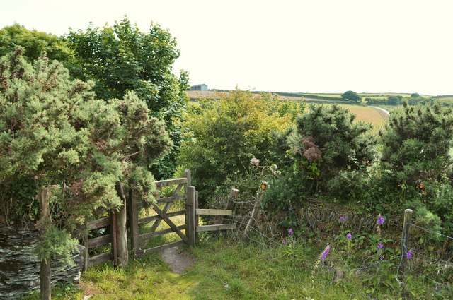 A gate on the footpath between Higher Warcombe and Damage Barton