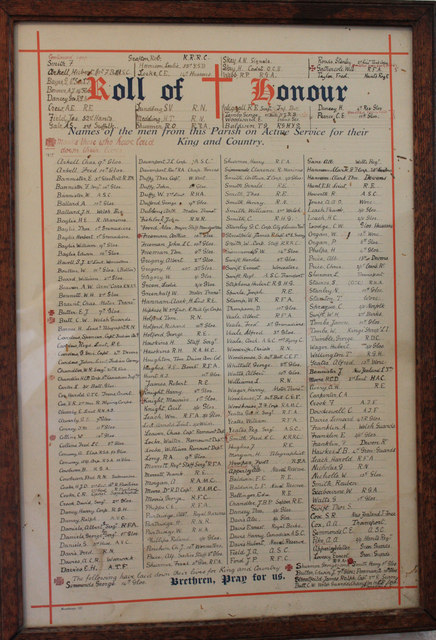 Roll of Honour, St Bartholomew's, Churchdown