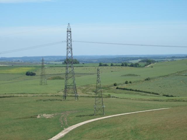 Pylons seen from Bronkham Hill