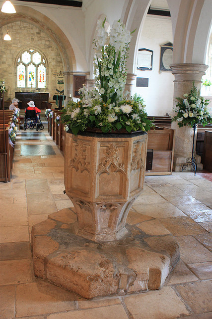 14th century font, St Bartholomew's Church