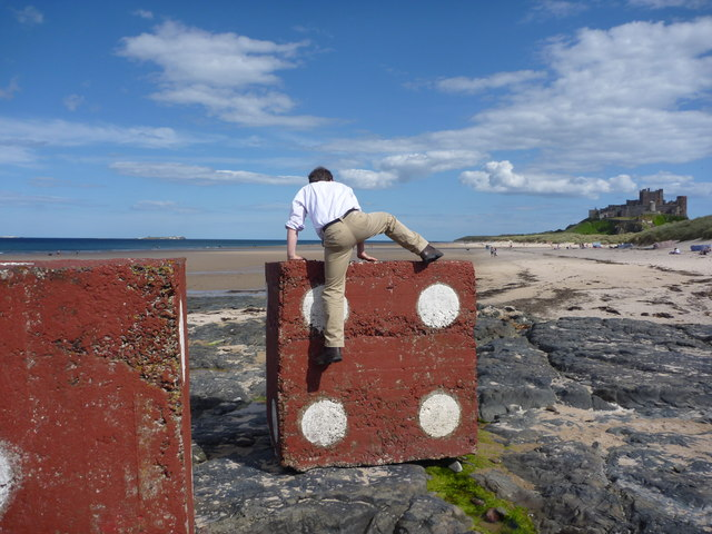 A Geographer Getting To Grips With His Subject : Climbing Blocks at Bamburgh, Northumberland