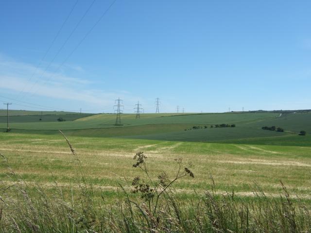 Pylons crossing fields towards Shorn Hill