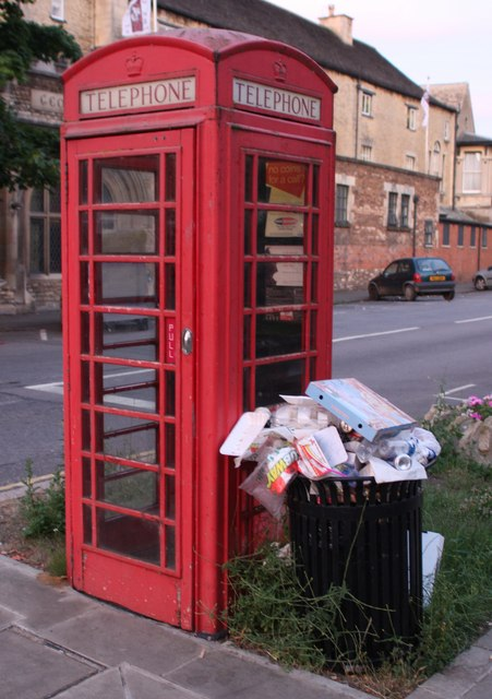 Old Telephone Box and Rubbish