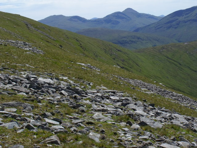 Upper slopes of Beinn Bhreac-liath dipping steeply westwards into Coire Ghamhnain near Tyndrum
