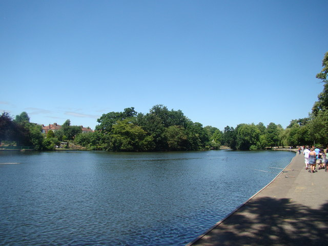 View of the lake in Raphael Park, looking downstream