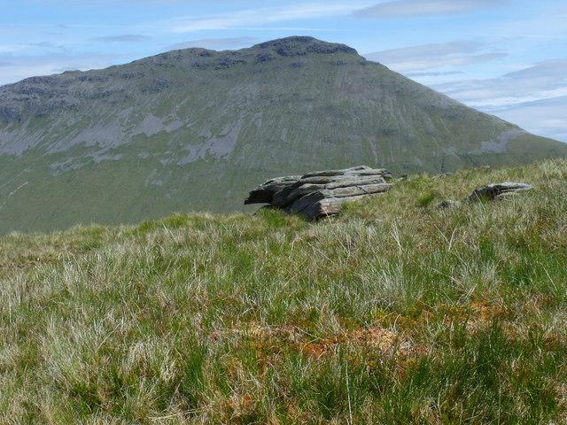 Hard rock and soft sphagnum on the north ridge of Beinn Bhreac-liath near Tyndrum