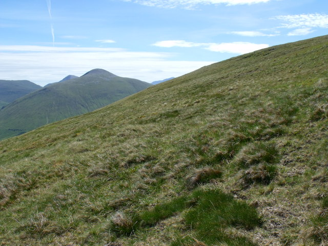 Grassy slopes to the north-east of the summit ridge of Beinn Bhreac-liath near Tyndrum
