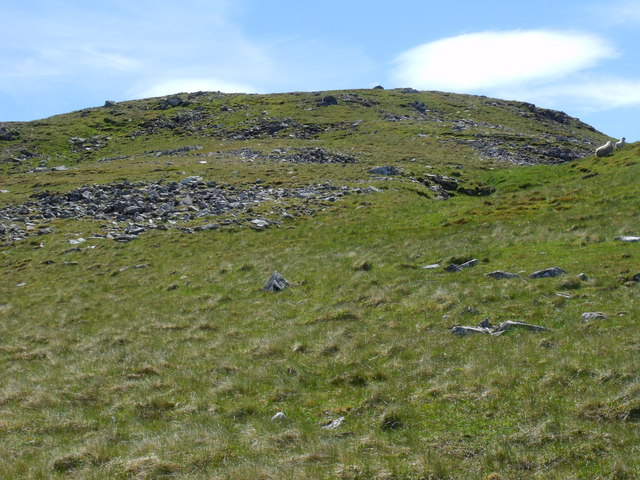 Bouldery step transits from grassy slopes to summit ridge on Beinn Bhreac-liath near Tyndrum