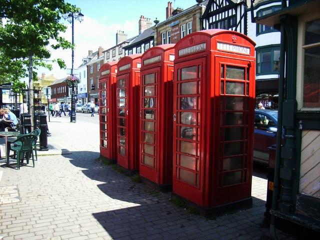 Four Telephone Kiosks, Market Place, Ripon