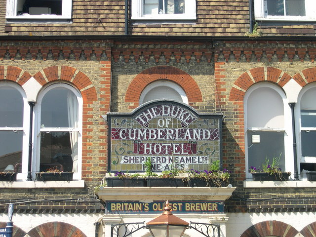 Hotel sign in stained glass, Whitstable, Kent