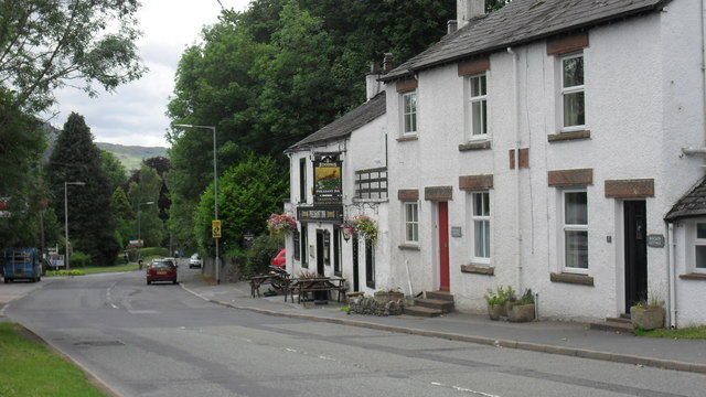 The Pheasant Inn and houses at Great Crosthwaite in Cumbria