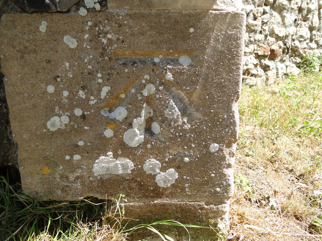 Bench Mark at Aldeby St Mary's church, Norfolk
