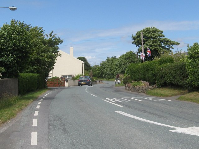 The B5300 heading through Blitterlees in Cumbria
