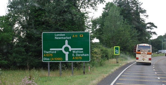 Roadsign approaching the A1075 and A11 roundabout