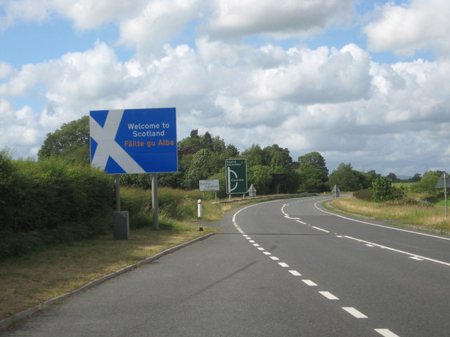 The A7 heading in to Scotland