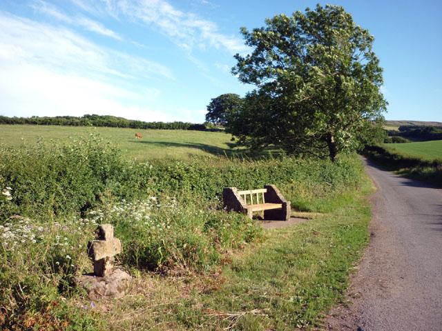 Memorial bench by the cross, Moor Lane