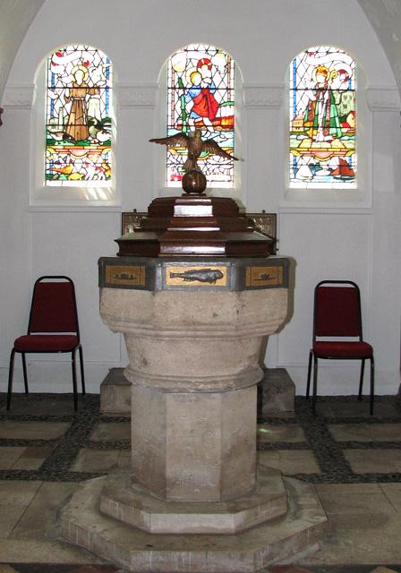 St Edmund's church in Hunstanton - C15 baptismal font