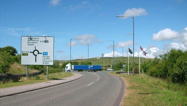 Road sign on Askam Road