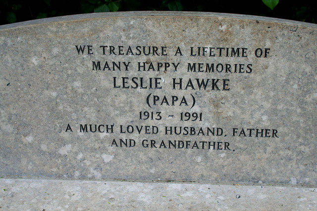 Memorial message on a bench