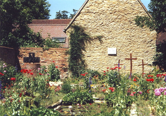 The small walled garden at Turvey Abbey, Bedfordshire