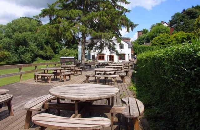 The terrace of the Riverside Inn
